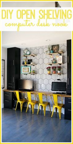 how to make your own DIY Industrial Open Shelving – Sugar Bee Crafts - Arbeitszimmer Computer Nook, Desk Nook, Home Office, Tiny Office, Diy Regal, Diy Kitchen Island, Floating, Craft Room Storage, Diy Desk