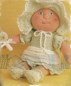"Baby Doll Crochet Pattern This cute little baby doll would be a treasure for any little girl. Easily crochet since you need to know only 1 stitch. Detailed pictures with step by step directions even a novice crochet fan can do with no problems. Soft an cuddly makes a perfect, inexpensive baby shower gift , which the little one will tote around for years.  Please click ""Like"" and share with your friends"