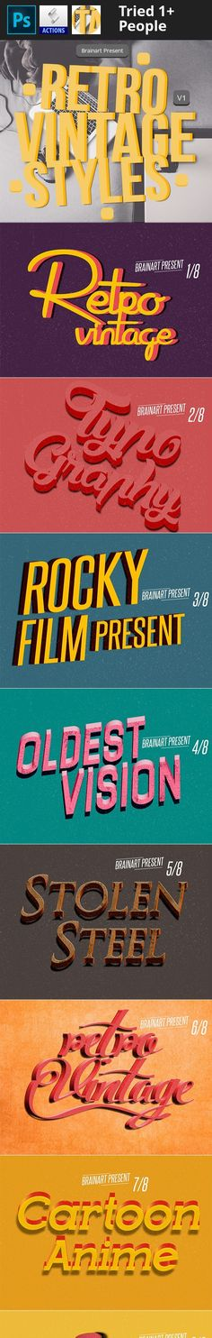 """3d, 50s, 60s, 80s, add-on, badge, brainart, classic, effect, grunge, hipster, indie, insignia, instant, label, logo, mock-up, mockup, oldies, pattern, photorealistic, photoshop, presentation, retro, style, styles, text, type, typography, vintage Hello, Tanks for buying my """"Retro Vintage Styles V1"""". Retro Vintage Styles – 08 PSD files Featured: 2000×1500 Work in 300 DPI Easy to change the text Easy to edit How to use: Check the helpfile! Fon..."""