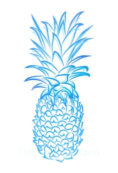 Blue Pineapple Giclee by thepinkpagoda on Etsy, $30.00