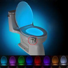BRELONG 1 pc 8-color Human Motion Sensor PIR Toilet Night Light 2020 - US $6.49 Toilet Bowl Light, Lumiere Led, Teen Room Decor, Luz Led, Night Lamps, Led Night Light, Night Lights, Child Safety, Light Sensor