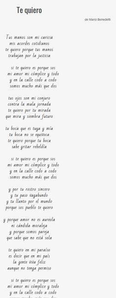 """Te quiero"" poema de Mario Benedetti"