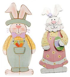 Wood Easter Bunny Couple