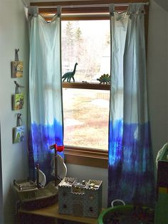 tie dye curtains - Cyan Canopy Interior