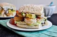 Crispy shrimp sandwich - bacon, avocado, shrimp, & parmesan tarragon mayo