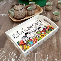 Tablett Toma-te 5 Minuten - The Best Raclette Photos 2019 Baby Painting, Dot Art Painting, Painting On Wood, Painted Wooden Boxes, Painted Trays, Wood Crafts, Diy And Crafts, Posca Art, Picture On Wood