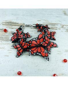 bracelet with butterfly, polymer clay butterfly, fimo, polymer clay, handmade bracelet, handmade jewelry Pracownia Kameleon