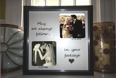 """LOVE THIS! A place for our wedding photo and a place for mom and dad's wedding photo. """"may we always follow in your footsteps"""" $39.00, via Etsy."""