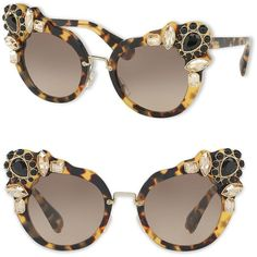 Miu Miu Women's 52MM Crystal-Embellished Cats'-Eye Sunglasses - Havana ($600) ❤ liked on Polyvore featuring accessories, eyewear, sunglasses, havana, soft accessorie - sunglasses, cat eye sunglasses, tortoiseshell cat eye glasses, miu miu eyewear, cateye sunglasses and tortoise sunglasses