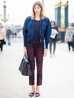 Bomber jacket, plaid sheer trousers, and sandals