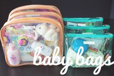 """Baby Travel Organization: Purchase multiple plastic zip pouches of the same color and size for an organized diy """"kit"""" for baby's bathroom items to feeding utensils on the go."""