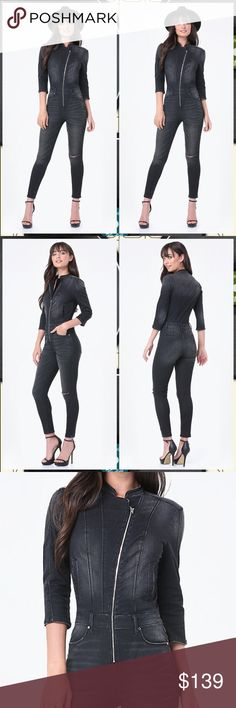 "Black denim jean moto jumpsuit romper playsuit Edgy moto jumpsuit in roughed-up stretch denim and a curve-loving silhouette. 4-pocket styling, plus bodice welt pockets. Inset waist with belt loops. 3/4 sleeves. Asymmetric front zip closure. 87% Cotton, 11% polyester, 2% spandex Machine wash Imported Rise: 11"" (28 cm), inseam: 28"" (71 cm), leg opening: 10"" (25.5 cm) Model is 5'9"" and wears a US size 28 Size 30 will fit up to a size 10. bebe Pants Jumpsuits & Rompers"