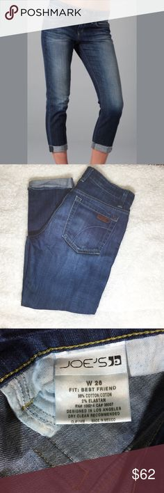 "JOE'S 'BEST FRIEND' CROP, SANDY WASH EUC, approximately 25"" inseam, 9"" rise, waist measures approximately 15.5"" lying flat. Slight stretch to them. Joe's Jeans Jeans Ankle & Cropped"