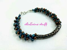 Blue-green brown bracelet