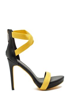 Break it down girl! Live it up in these hot heels featuring an open toe, single strap vamp, crisscross elasticized ankle strap, and exposed zip back closure. Stiletto heel. $31.50