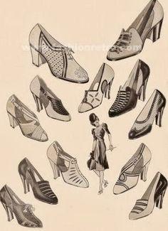 Tipos de sapatos da década de 30.