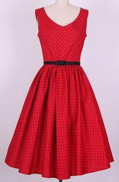 Gola V Padrão de Bolinhas Sem Mangas Vestido Plissado para Mulher (Vermelho,XL) | Sammydress.com