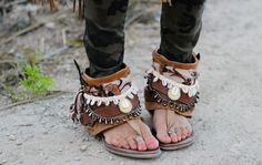 Gorgeous boho embellished open boot sandals by Layer Boots. Via Madame de Rosa.
