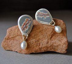 Betsy Bensen:  Fall Jewelry, Sterling Silver Earrings, Sonoran Dendritic Ryolite, Pearl Drops, 14kt Gold Posts, Handmade Earrings. Via Etsy.