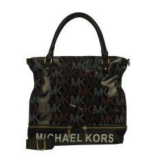 Michael Kors Classic Monogram Large Black Totes Outlet