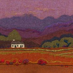 """White House"" Needle felted Harris Tweed painting  by textile artist Jane Jackson. Image available as a greetings card & giclee print in 2 sizes from www.brightseedtextiles.com. FREE UK postage & packing."