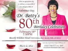 Mark your calendars and purchase your tickets in the reservations department for Dr. Betty's 80th Birthday Celebration, on Friday, February 14th at the Beverly Wilshire Hotel.  Flyers are available in each of the foyers.  If you would like information on placing a congratulatory ad in the souvenir book, please email Bbyndon@faithdome.org.
