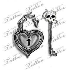 Marketplace Tattoo skull key heart lock #14800 | CreateMyTattoo.com