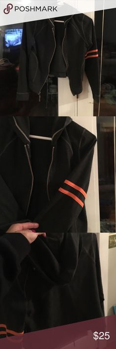 Two small The slightly zip up hoodie is very comfortable and gently worn   Smoke-free pet free clean only washed with wool light dark gray with an orange double stripe on left arm Tops Sweatshirts & Hoodies