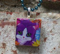 Lisa Frank Purple Kitten Scrabble Tile Pendant by GreyGyrl on Etsy, $6.00