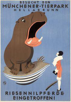Munchener - Tiepark Vintage Poster (artist: Geis, Joseph Nikolaus) Germany c. 1924