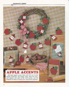 Apples, Apples Set in Plastic Canvas by TamarasTraditions on Etsy