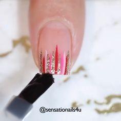 Sparkle Nail Designs, Short Nail Designs, Nail Art Designs, Nail Art Hacks, Gel Nail Art, Nail Art Diy, Diy Nails Videos, Nagel Stamping, Fingernail Designs