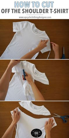How To Cut Off The Shoulder T-Shirt clothes for teen clothes no sewing clothes refashion clothes thrift store clothes tshirt Umgestaltete Shirts, Diy Cut Shirts, T Shirt Diy, Upcycle Shirts, T Shirt Hacks, Diy Off Shoulder Shirt, Shoulder Cut, Fashion Sewing, Diy Fashion