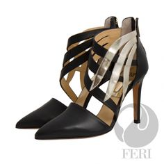 FERI - Dominique - Shoes - Black and Champagne  Price                                  $1,000 Canadian Dollars Product #                           FSH-5855 Product Category              FERI Shoes - Napa leather pump with stiletto heel - Napa leather sole and insole - Colour: Black with gold design accent - FERI logo hardware on sole and zipper pull - Heel height: 4.5 inches  Invest with confidence in FERI Designer Lines.