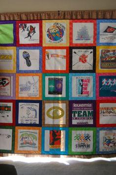 T-Shirt quilt - borders on each shirt make nice squares.