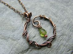 Peridot necklace ~ August birthday necklace ~ Green stone ~ Wire wrapped copper jewelry ~ Copper necklace ~ Gift for august birthday ~ - Hey, I found Peridot Necklace, Wire Necklace, Copper Necklace, Green Necklace, Copper Jewelry, Stone Necklace, Wire Jewelry Making, Wire Wrapped Jewelry, Diamond Initial Necklace