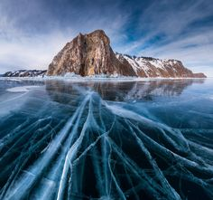 Lake Baikal, one of the oldest, deepest and largest lakes in the world. winter. Siberia Russia