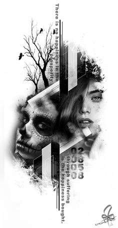 Photoshop, Tattoo, La Catrina, Black&White, Tree, Woman, Burtscher N.