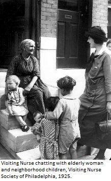 Visiting nurse chatting with elderly woman and neighborhood children. Visiting Nurse Society of Philadelphia, 1925. Image courtesy of the @nursinghistory.