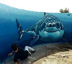 UP-BY The Artists @upbyartists SHARK by VIM ~Twitter #streetart #art #graffiti #illustrator #photo ><3<
