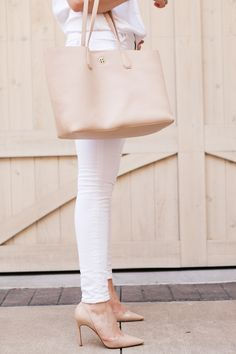 All white with a touch of blush, you can't go wrong with this look.