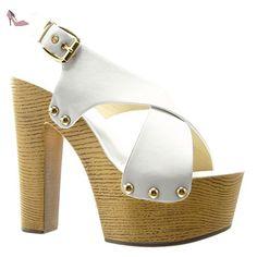 Angkorly - Chaussure Mode Sabot Sandale plateforme femme clouté métallique bois Talon compensé plateforme 14 CM - Camel - PN1567 T UqEcD3