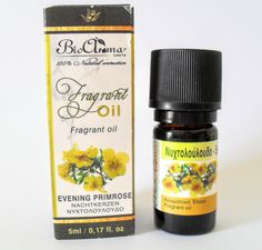 Evening Primrose essential oil, for aromatherapy at home.