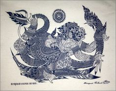 Thai traditional art of Hanuman And Naga by silkscreen printing on Natural colors cloth.(Blue)