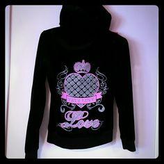 Velour LOVE hoodie Black velour hoodie with glitter love design on back Tops Sweatshirts & Hoodies