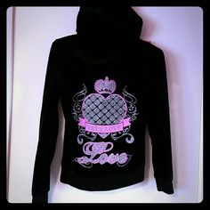 Velour LOVE hoodie Black velour hoodie with glitter love design on back Tops Sweatshirts & Hoodies