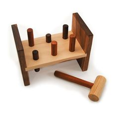 Hammer Toy - organic wood peg pounding kids tool bench toy. $44.00, via Etsy.