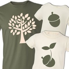 matching daddy and kids tshirt gift set of THREE organic shirts the acorn doesn't fall far from the tree