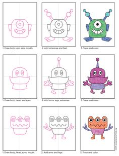 How to Draw Aliens · Art Projects for Kids. This tutorial for how to draw aliens encourages a mixing of eyes, hands and feet. Alien Drawings, Space Drawings, Doodle Drawings, Easy Drawings, Drawing For Kids, Painting For Kids, Art For Kids, Drawing Lessons, Art Lessons