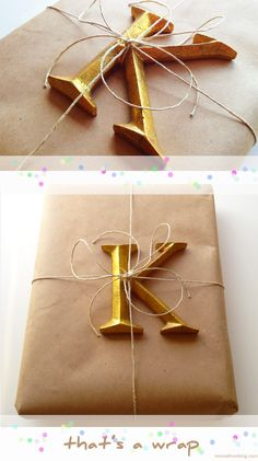 DIY gift wrap using personalized embellishments. My favorite gift wrap often includes personalized embellishments. I wrapped this package for my daughter's birthday. I think the gold leaf letter K—her initial—is a nice contrast with the simple brown wrapping paper and twine.